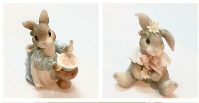 Enesco Vintage My Blushing Bunnies Loves Me & A Mom Like You Figurines 1995