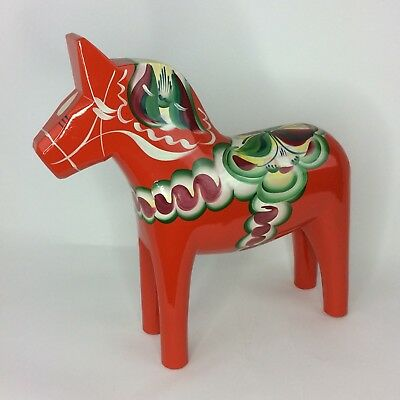 "Nils Olsson XLG Hand Painted Wood Dala Horse Figure Folk Art VTG 17"" Swedish"