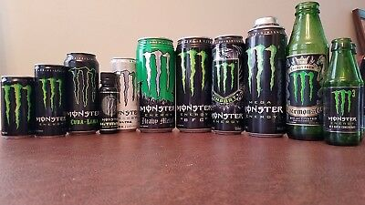 Lot of 12 Assorted Monster Energy Containers. Opened. Not full. L@@K!
