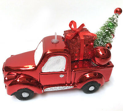 Red Country Truck Hauling Christmas Tree Ornament Farmhouse Present Shiny