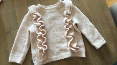 Country Road Wool Mix Baby Girl Ruffle Pink Jumper Knit 3-6 Months 00