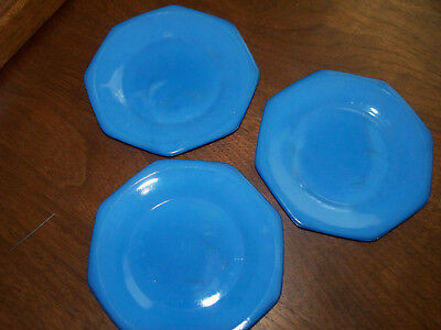 Vintage Akro Agate Glass Child Blue Plate Octagon Concentric Ring-3