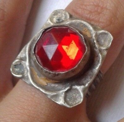 Medieval Roman METAL COLOR SILVER Ring with Red Stone. **Jewelry, Artifact**