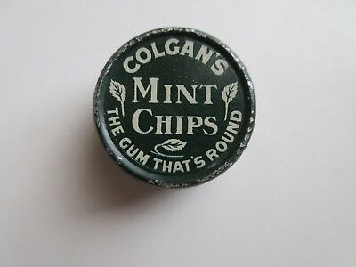 """1906 COLGAN'S MINT CHIPS Advertising Tin """" THE GUM THAT'S ROUND"""""""
