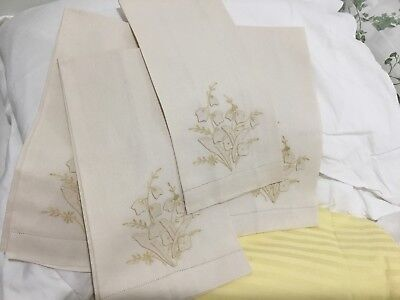 """Lot (4) Towels Madeira Embroidery 22""""x14"""" Ivory Set Cotton"""