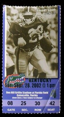 3b25694a72a Ticket College Football Florida Gators 2002 9/28 Kentucky Emmitt Smith