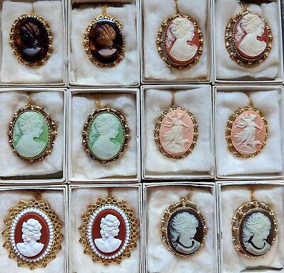 Lot of 12 Great Quality Vintage Lady head Greek Cameo Brooch Pendant Necklace
