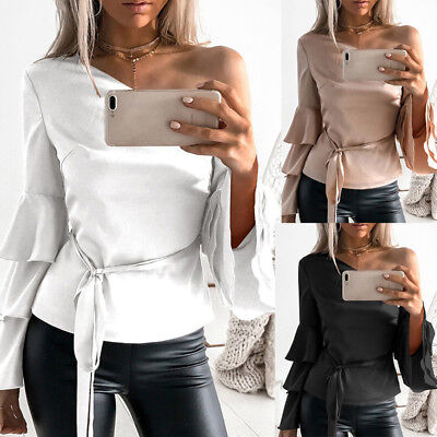 Women Flare Long Sleeve Solid Pure Off Shoulder Sexy Shirt Blouse Top G