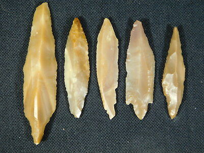 Lot of FIVE! 9,000 to 4,000 Year Old Lithic Arifacts Bir Gandus Morocco 26.9gr e