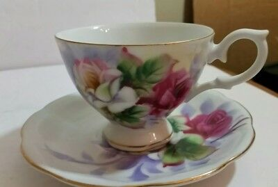 Japanese Hand Painted Floral Tea Cup and Saucer