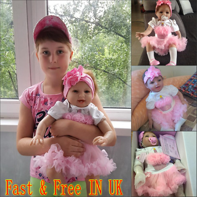 "22"" Reborn Baby Dolls Girl Soft Silicone Handmade Newborn Toddler Real For Kid"