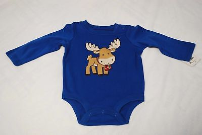 NWT Infant Boy's BLUE Bodysuit Size 3-6 Months Holiday MOOSE Long Sleeves