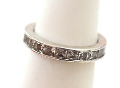Estate  Sterling Silver Platinum Clad QVC White CZ Gems Band  Ring sz 5 (3 g )