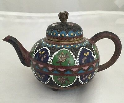 Amazing JAPANESE MEIJI PERIOD Wire CLOISONNÉ Mini TEAPOT 5""