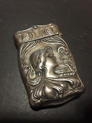 Beautiful Antique Sterling Silver Match Safe Smoking Lady