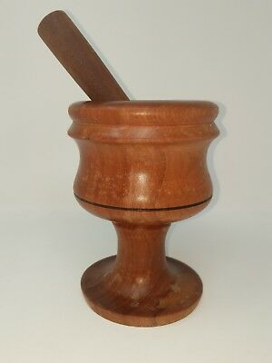 Vintage Mortar & Pestle Antique Primitive Apothecary Solid Wood Wooden Large