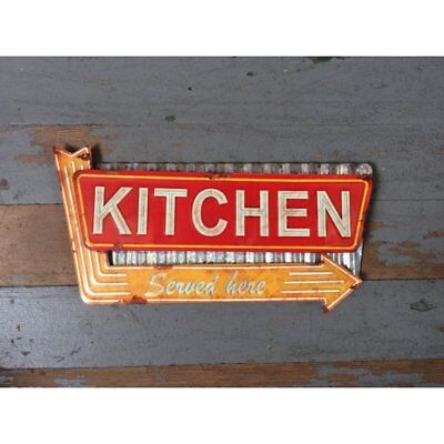 Yellow Arrow Retro Style DINER Kitchen Wall Embossed Metal SIGN Mom Dad Vintage