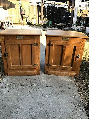 Vintage White Clad Oak Ice Box Pair Left and Right End Table Nightstand VTG