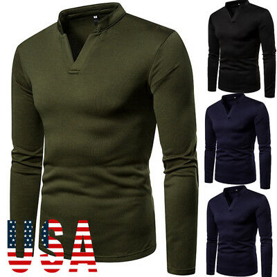 Men Slim Fit Polo Neck Long Sleeve Muscle Tee Shirts Casual T-shirt Tops Blouse