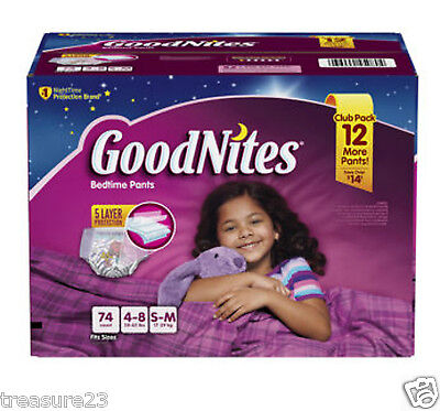 GoodNites Bedtime Underwear for Girls Size:S/M 74 Count