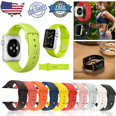 For iWatch Apple Watch Series 1 2 3 4 Sport Silicone Bracelet Band Strap 38&42mm