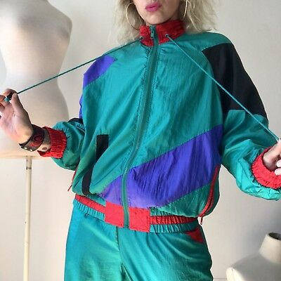 Vtg COLOR BLOCK Windbreaker Shiny Wet Look 2 Piece Tracksuit 80s 90s Athleisure