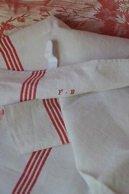 A classic French pure linen red striped torchon, FB monogram