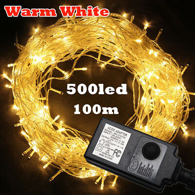 500LED 100M Warm White Outdoor String Fairy Lights Christmas Light Party Lamp