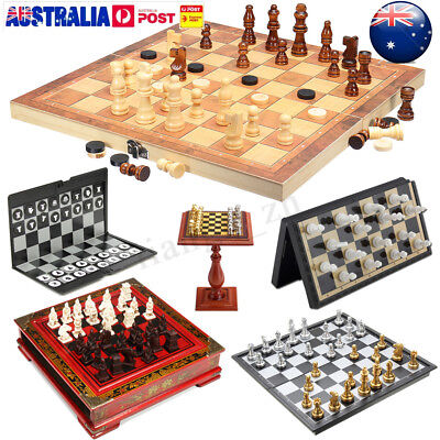 Folding Chessboard Wooden Chess Board Magnetic Portable Box Game Toy Puzzle Set