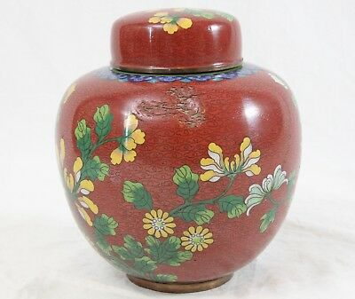 """Antique Chinese Cloisonne 6"""" Ginger Jar Red Yellow Floral Enamel Copper Marked"""