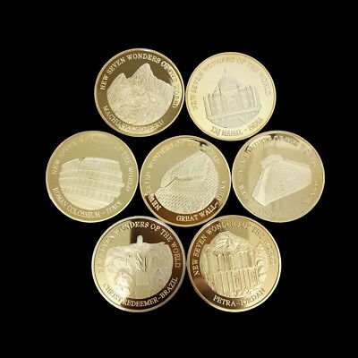 7 Pcs / Set New Seven Wonders of the World Commemorative Collections Coins Gift