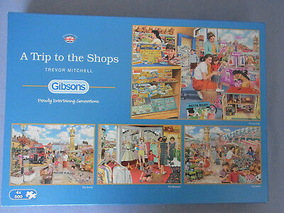 "GIBSONS  PUZZLE 4 x 500 Teile  ""A Trip to The Shops"" Trevor Mitchell G5024"