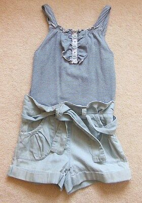 **next Blue Stripe Vest/ Denim Short All In One Playsuits - For  Age 5 Years  **