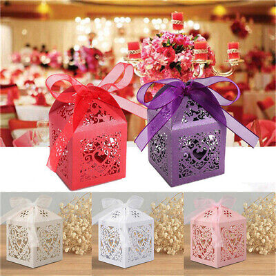 25PCS Wedding Laser Cut Favor Bomboniere Candy Sweet Love Heart Style Gift Boxes