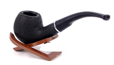 15cm BLACK WOODEN PIPE Durable Wood Effect Tobacco Smoking Gift Boxed Stand