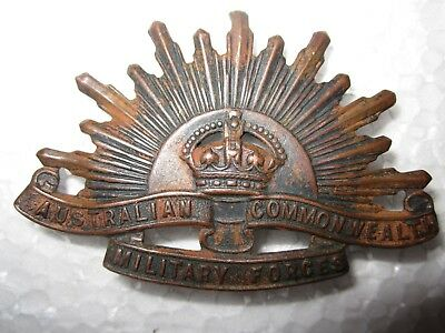 Vintage Australian Commonwealth Military Forces Copper Hat Badge Pin 3rd Version