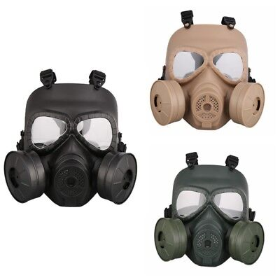 Full Face Mask Guard Airsoft Double Filter Fan CS Edition Gas Mask Dustproof USA
