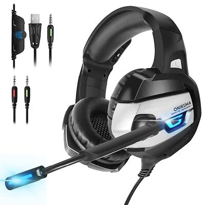 ONIKUMA MIC Gaming Headset Headphone For PS4 NEW XBOX ONE Switch PC Laptop Gray