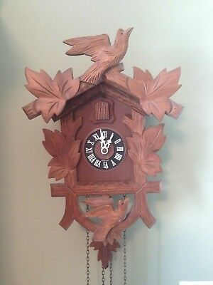 German Schwarzwalder Black Forest Hubert Herr Handcarved Wooden Cuckcoo Clock