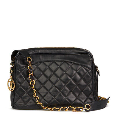 ce9095372f9e Chanel Black Quilted Lambskin Vintage Timeless Charm Camera Bag Hb2159