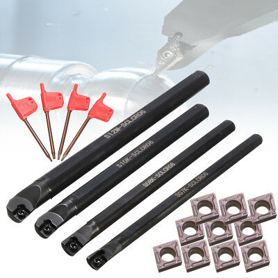 7/8/10/12mm SCLCR06 Lathe Boring Turning Bar +10pcs CCMT060204 Insert Tool Set