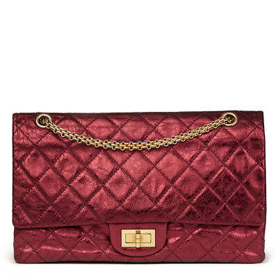 2e5e0dc5f586 Chanel Dark Red Quilted Metallic Aged Calfskin Leather 2.55 Reissue 227.