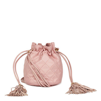 f483c9394e218 CHANEL PINK QUILTED Lambskin Vintage Timeless Bucket Bag Hb1812 ...