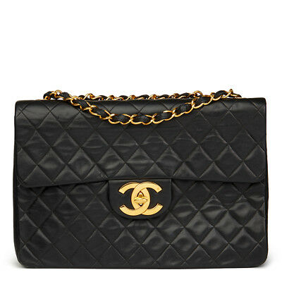 Chanel Black Quilted Lambskin Vintage Maxi Jumbo Xl Flap Bag  Hb632
