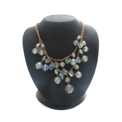 """QVC Round Green Faceted Aurora Borealis Bead 17"""" Necklace Cyber Monday"""