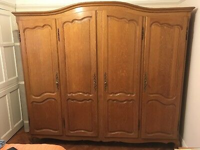 Vintage French Carved Oak 4 door Armoire Wardrobe Louis XV Style