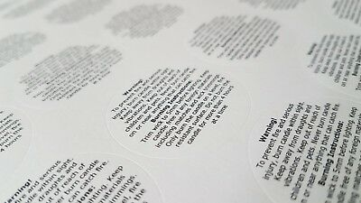 175 x Candle Warning Labels. Burning Safety Stickers. 37mm diameter