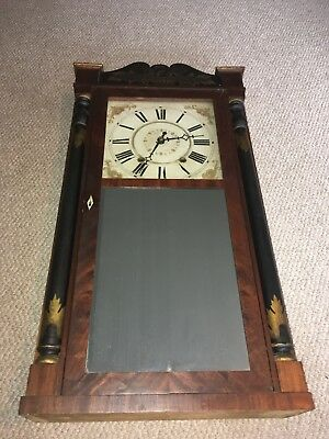 Antique Atkins & Downs Column And Splat Weight Driven Clock Mitchell & Atkins
