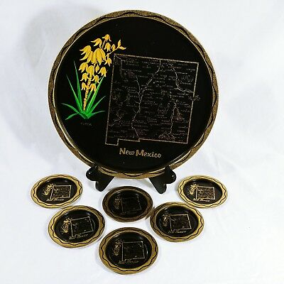 """New Mexico State Souvenir Tray Round 11"""" With 6 Coasters Metal Vintage"""