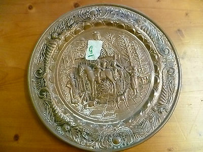 Vintage, Large Hunting Themed Brass Wall Plate.  Brass, Fox Hunting Themed Plate